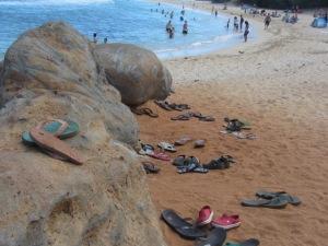 Slippahs at Baby Beach