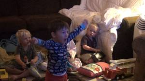 Our 2 year-old singing Let it Go from Frozen at the top of his lungs. And yes, screen time is a thing around our house.